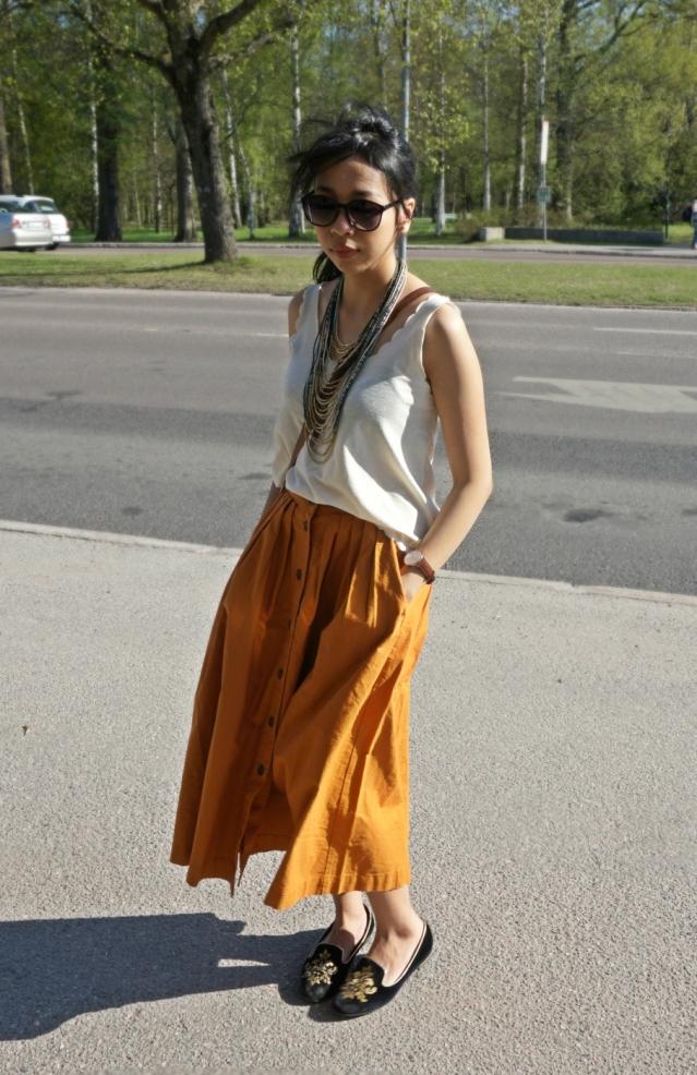 Camel Midi Skirt H&M